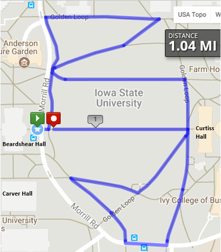 One Mile Routes ISU WellBeing - Map your walking route